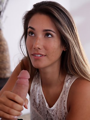 Cock hungry babe Eva Lovia seduces her man with a miniskirt and a hot blowjob before giving him a horny stiffie ride